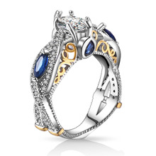 High Quality Big Blue CZ Zircon Silver Wedding Engagement Rings for Women Promise Ring Fashion Jewelry 2017 New(China)