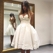 Pretty A Line Lace Sweetheart Short Bride Wedding Gowns 2017 Destination Wedding Dress