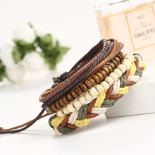 Natural Beads Wood Bracelet Men Jewelry Multilayer Hand Made Leather Rope Friendship DIY Male Bracelets Pulseira Masculina B0256
