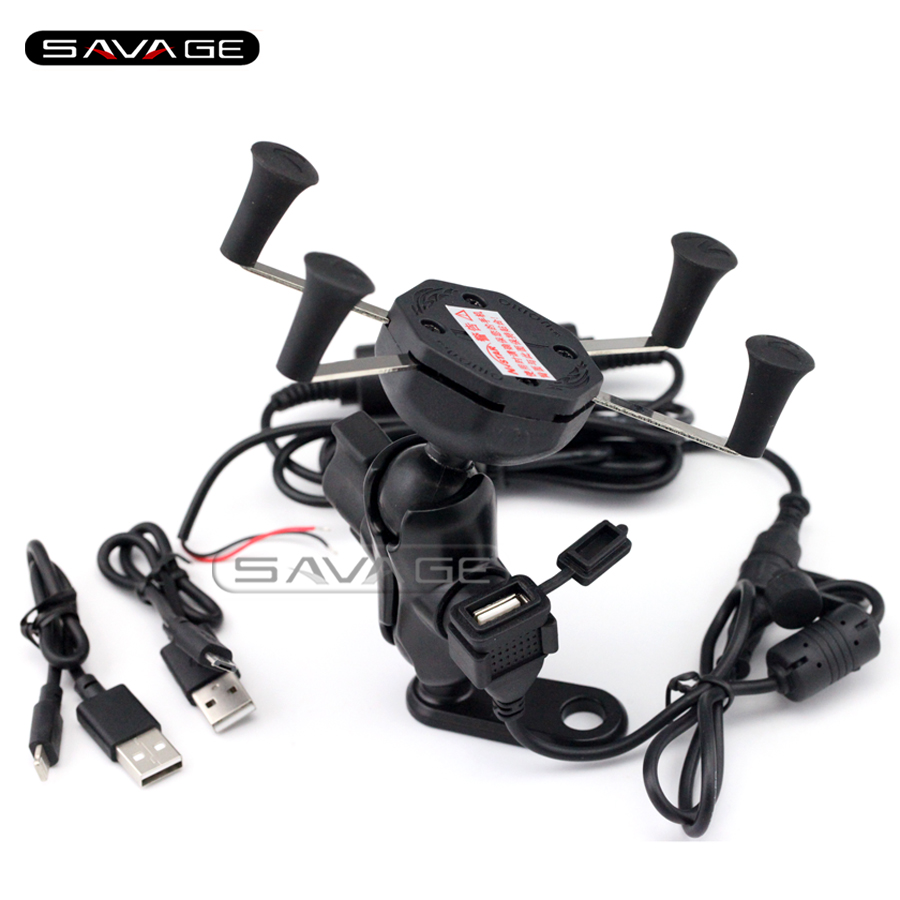 For YAMAHA FZ6 N/S FZ8 FZ1 Fazer XJR1200 XJR1300 Motorcycle Navigation Frame Mobile Phone Mount Bracket with USB charge port<br>