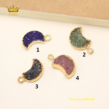 4 Color,5pcs 12mm Rock Druzy Raw Crystals Crescent Moon Charms Necklace,Natural Quartz Drusy with Gold Edged Pendants Bulk GH418(China)