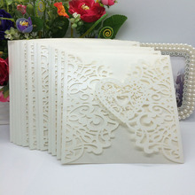20Pcs Romantic Wedding Party Invitation Card Delicate Carved Heart Pattern Decoration