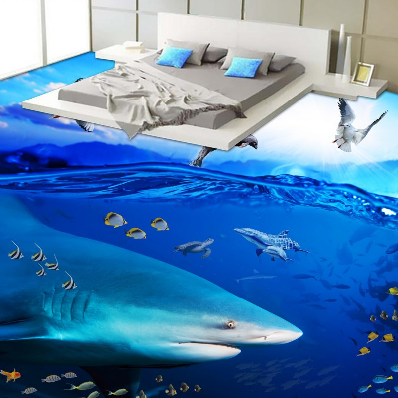 Free Shipping Ocean Shark Tropical Fish Toilet Bedroom 3D Floor thickened wear non-slip kitchen mall bathroom flooring mural<br>