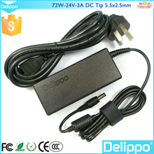 Delippo 24V 3A AC DC Adapter Power Supply Cord Charger 5.5mm Tip For LCD Monitor Printer