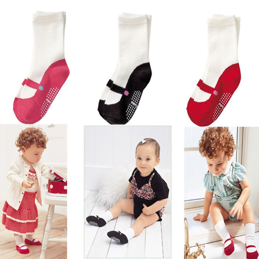 High Quality Baby's Gifts 3 Colors Lovely Mini Foot gear Baby Kids Non-slip Floor Ballet Girls Socks for 0-1.5 years old baby(China)