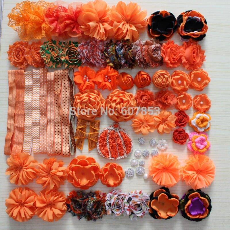hair flower accessories Halloween flower black orange for DIY hair flower headband<br>