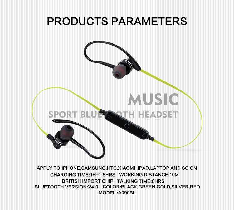 Awei A990BL Sport Wireless Bluetooth Earphone Stereo Earphone With Microphone Sweatproof Headset For Phone Bluetooth Earbuds