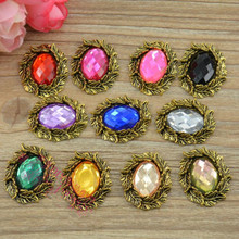 Vintage oval buttons with crystal or rhinestone embellishments flowers decoration for embellishments free shipping BT21