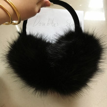 2016 Women's  Artificial Fox fur Earmuffs Winter ear muffs Girls Huge Rabbit Fox Fur Earmuffs plush ear thermal fue eamuffs cute