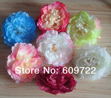 New Diy 12cm Fabric Artificial Peony Flower Head Wedding Decoration For Hair Hats accessories Pink Cream 7 C FL1430(China)