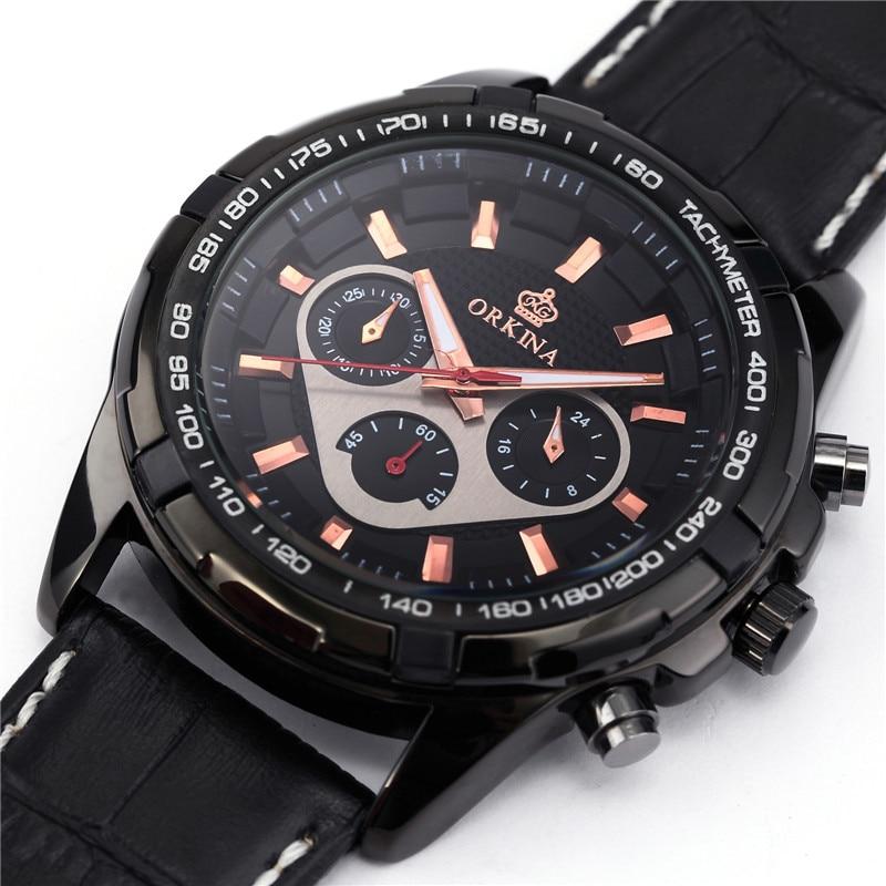 ORKINA Fashion Casual Men Clock Black Stainless Steel Case Male Watches Japan Quartz Movement Water Resistant erkek kol saati<br>