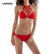 LASPERAL Sexy Two Pieces Swimsuits Red Crochet Crop Top Women 2017 New Sexy Hollow Out Lace High Neck Bikini Swimwear Monokini