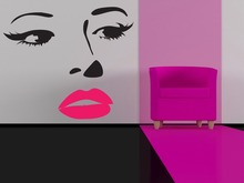 Elegant Woman Beauty Salon Wall Decal Vinyl Stickers Make Up Girl Lips Eyes Face Modern Home Interior Home Decor RemovableSYY560
