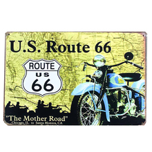 placas christmas metal retro vintage metal cutting vintage tin signs 20*30cm  refo route 66 yellow motorcycle Metal painting