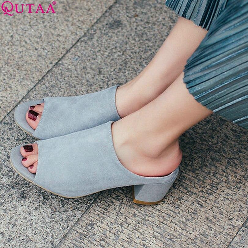 QUTAA 2017 Women Pumps Spring Square High Heel Slip On Genuine leather Peep Toe Black Ladies Wedding Shoes Size 34-39<br><br>Aliexpress