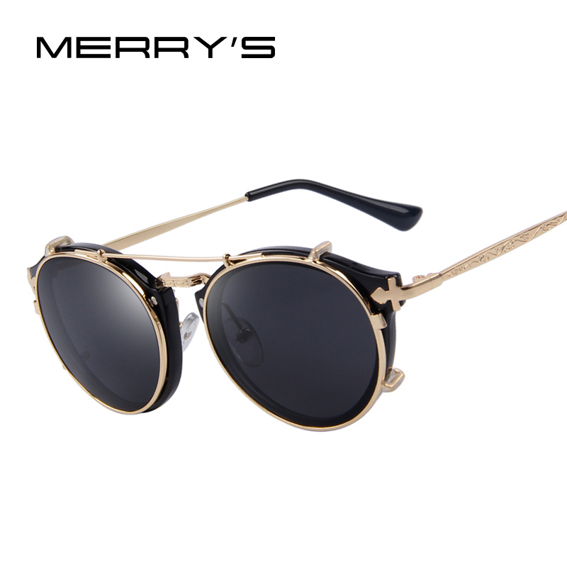 MERRYS Steampunk Round Women Sunglasses Flip Separable Lens Mirror lens/Clear lens Vintage Glasses UV400<br><br>Aliexpress