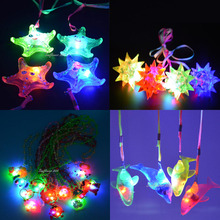 2017 NEW Spiky Ball Cartoon Dolphin Star Heart Light Up LED Flashing Necklace Pendants Rave Toys Party Party Glow Halloween(China)