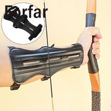 Forfar Leather 3 Strap Target Archery Arm Guard Safety Protection Gear Outdoor Hunting(China)