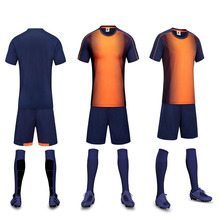 Popular Orange & Drak 17 Men's College School Students Soccer Jerseys Sets Football Team Party Soccer Uniforms Shirts Customized