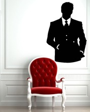 Man Clothing Shop Vinyl Wall Decal Man in Smoking Suit Mural Art Wall Sticker Barbershop Hair Salon Clothes Store Decoration