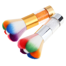 1Pcs Big Metal Rhinestone Handle Rainbow Hair Nail Art Dust Remove Brush Glitter Powder Sequins Bead Clean Remover Beauty Tool(China)