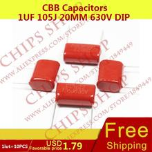 1LOT=10PCS CBB Capacitors 1uF 105J 20MM 630V DIP 1000nF 1000000pF