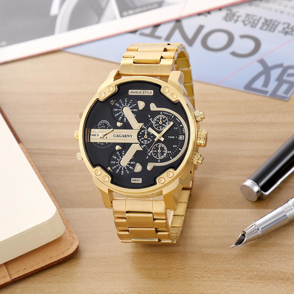 Cagarny Watches Men Fashion Quartz Wristwatches Cool Big Case Golden Steel Watchband Military Relogio Masculino Diesel Style dz6820 (4)