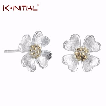 1Pcs 925 Silver Jewelry Lotus Earrings for Women New Design Lovely Girls Fashion Flowers Shape Stud Earring Femme Jewelry
