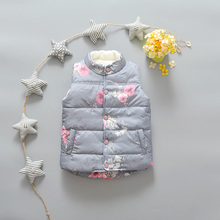 2016 Autumn Winter New Pattern Korea Style Children's Garment Print Flower Increase Down Girl Baby Joker Warm Vest Waistcoat