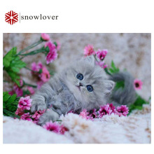 Snowlover,5D,Full,DIY Diamond Embroidery,square,Diamond Painting,Cross Stitch,3D,Diamond,Mosaic,Needlework,Crafts,gray cat