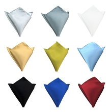 Mannen Polyester Satijn Zakdoek 9 Kleuren Solid Plain Pocket Plein Hanky Wedding Party Business Kerst Borst Handdoek(China)