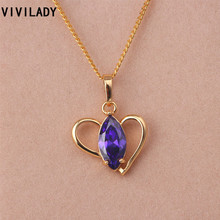 VIVILADY Fashion Purple& Red Zircon Crystal Rhinestone Heart Necklace Women Girl Lowest Price Jewelry Christmas Party Gift