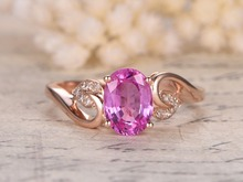 MYRAY Natural Pink Sapphire Genuine Gemstone Engagement Ring Antique Vintage Women Rings 14k Rose Gold Wedding Anniversary Band