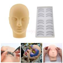 Pro Makeup Training Silicone Mannequin Flat Head with 10Pairs Practice Lashes Kit for Eyelash Extensions