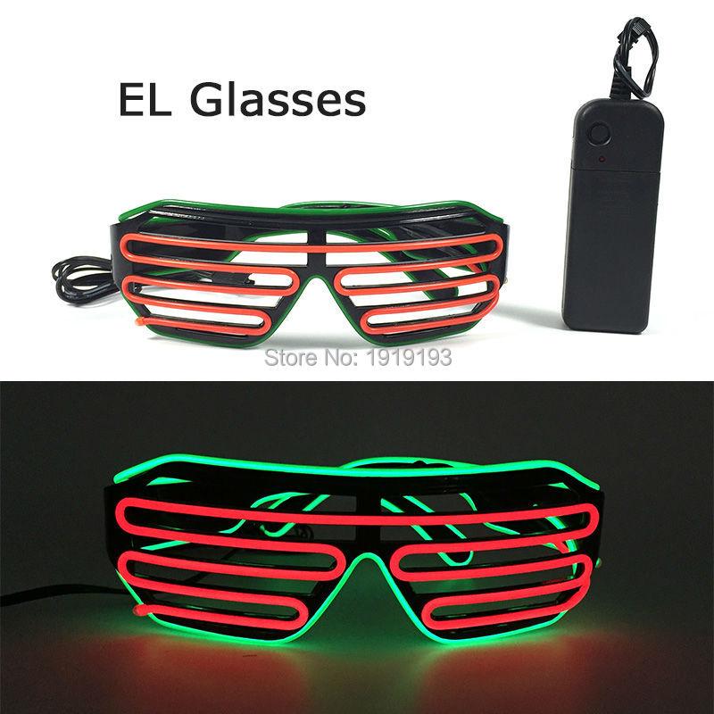 New Design Bachelor Party Decor Sparkling EL wire Shutter Glasses Novelty Lighting Flashing Neon Led Light Up Flickering Eyewear