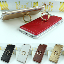Luxury PU Leather Cases for For iphone 6 6s 6 Plus 5 5s SE Case Finger Ring Phone Stand Holder Soft TPU Frame Back Cover