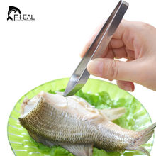 FHEAL 1 pcsStainless Steel Fish Bone Tweezers Kitchen Gadgets Pluck Out Hairs Pick-Up Tool Tong