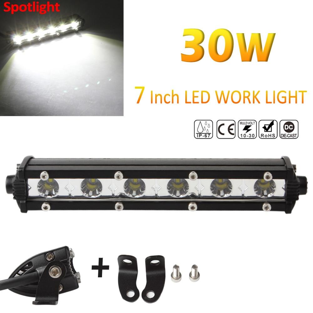 Slim 7inch 30W 3000LM Spot LED Single Row Work Light Bar OFFROAD DRIVING SUV Waterproof/ Dust proof/ Shockproof<br><br>Aliexpress
