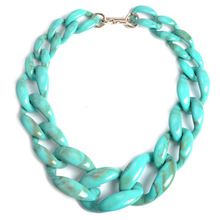 Vintage Exaggerated Jewelry Acrylic Chain Clasp Chain Necklace For Women Gift Necklaces & Pendants Collar Choker Necklace(China)