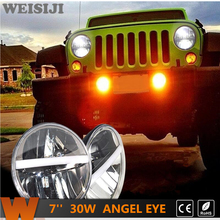 WEISIJI 2Pcs/Set 7'' LED Headlights for Jeep Wrangler Land Rover Hummer Truck Motorcycles 30W Driving Light Hi/Low Beam with DRL