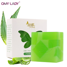 OMY LADY Pure Natural Herbal Plant Aloe Gel Handmade Soap acne treatment oil-control Moisturizing handmade Soap essential oil(China)