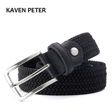 "Hot Sales Men Woven Elastic Black Belt High Quality Belt Strap Black Color 1-3/8"" or 35mm Wide Stretchy Waist Belt FreeShipping(China)"