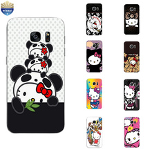 Phone Case For S4 S6 S7 Edge Plus Back Cover Samsung Galaxy C5 C7 C7000 Shell Soft TPU Protection Cute HK Cat  Design Painted