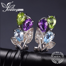 JewelryPalace Multicolor 2.5ct Genuine Amethyst Peridot Blue Topaz Clip Earrings 925 Sterling Silver for Women Fine Jewelry