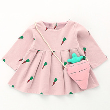 Baby Girl Dress 2017 New Autumn Children Long Sleeve Printed Princess Dresses Newborn Carrot Pink Vestidos Infantil Kids Clothes(China)