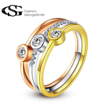 New G&S Ring fashion Rose Gold Color Classic Simple Design heart Solitaire 3 round Zirconia  forever Wedding Ring