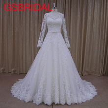 Buy GSBRIDAL High Tailored Long Sleeve Line Custom made Court Train Free Wedding Dress 2017 Vestido de Noiva for $237.99 in AliExpress store