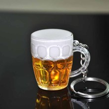 Simulation mini beer cup Key chains acrylic glass pendant jewelry accessories beer bottle bag car cute lovely key chains