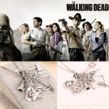 The Walking Dead Necklace Arms Weapons Necklace GUN & Axe & Crossbow & Telescope Pendant Necklace Movie Male Chain Necklace N10