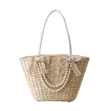 Lovely tassel lace pearl bowtie design beach bag sweet lady fresh shoulder bag japanese style straw  summer trapeze women totes